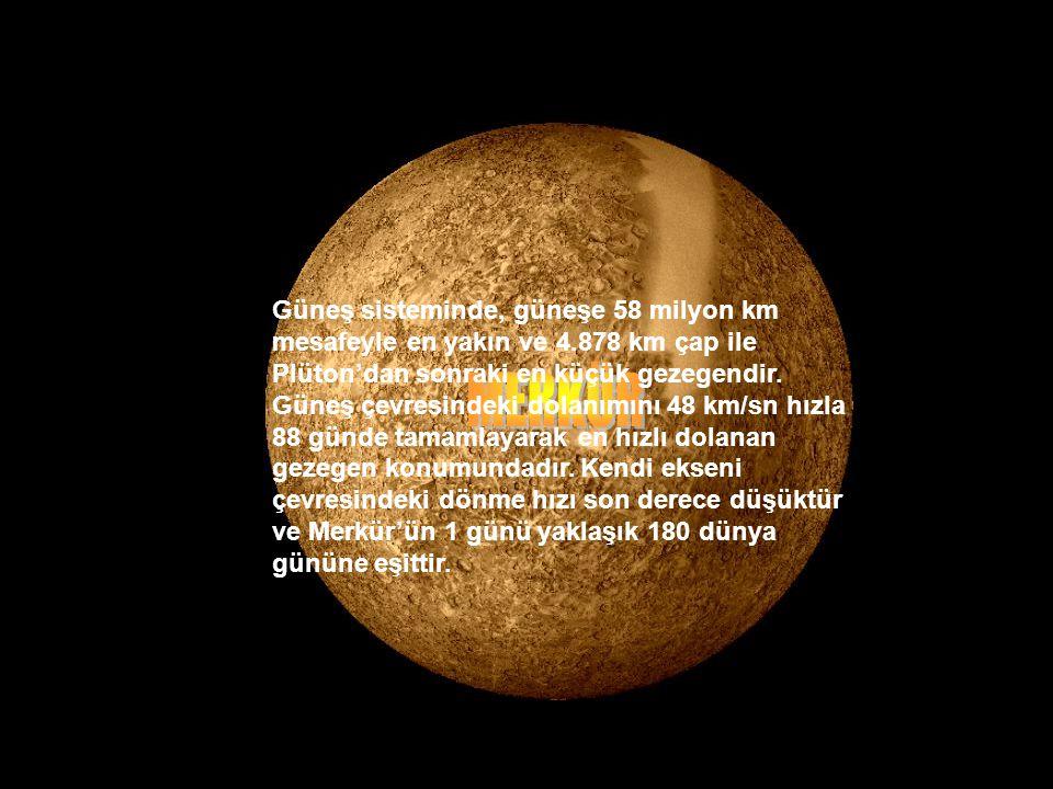 Güneş sisteminde, güneşe 58 milyon km mesafeyle en yakın ve 4.878 km çap ile Plüton'dan sonraki en küçük gezegendir.