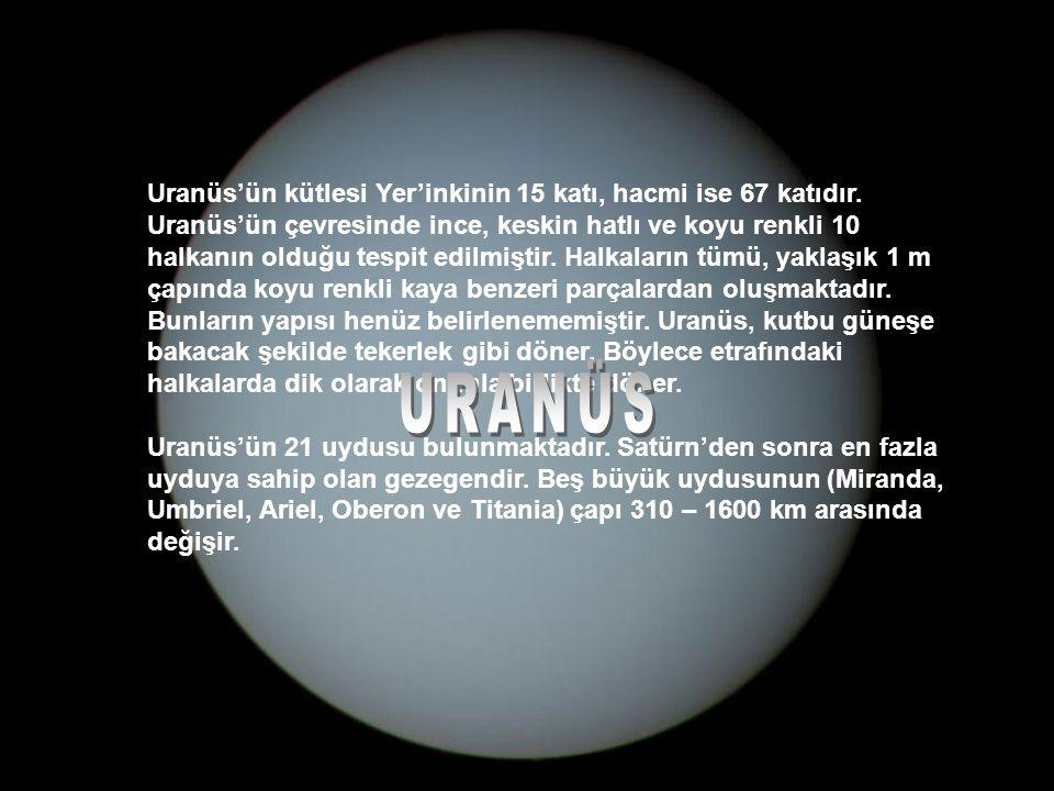 Uranüs'ün kütlesi Yer'inkinin 15 katı, hacmi ise 67 katıdır.