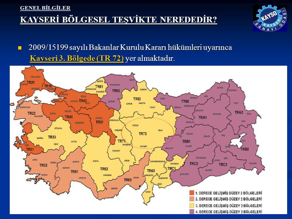 GENEL BİLGİLER  2009/15199 sayılı Bakanlar Kurulu Kararı hükümleri uyarınca Kayseri 3. Bölgede (TR 72) yer almaktadır. Kayseri 3. Bölgede (TR 72) yer