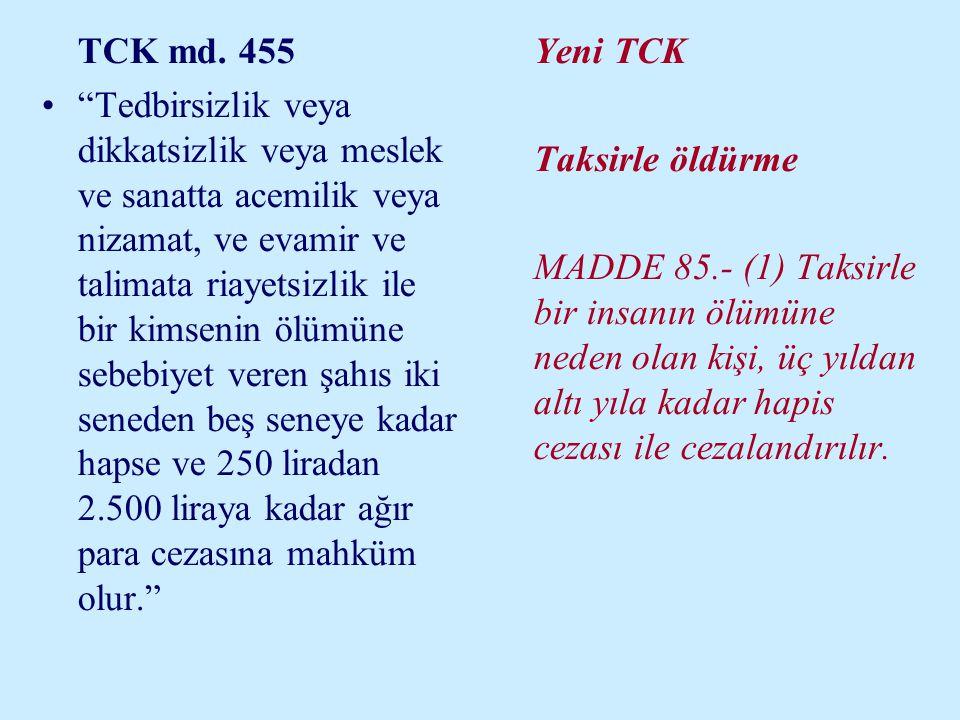 """TCK md. 455 •""""Tedbirsizlik veya dikkatsizlik veya meslek ve sanatta acemilik veya nizamat, ve evamir ve talimata riayetsizlik ile bir kimsenin ölümüne"""