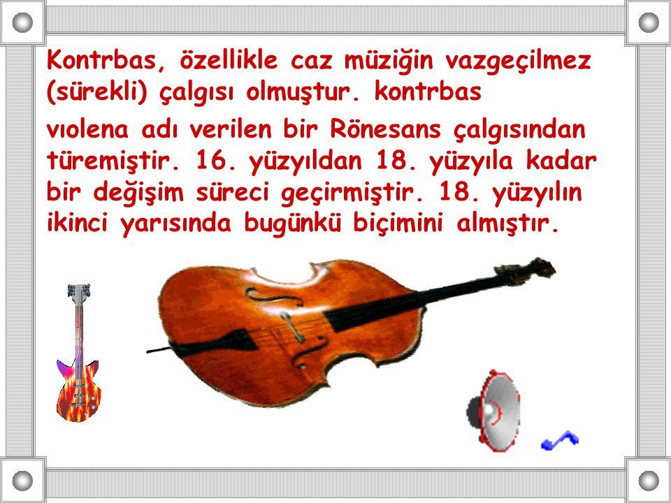 Kontrbas, özellikle caz müziğin vazgeçilmez (sürekli) çalgısı olmuştur. kontrbas vıolena adı verilen bir Rönesans çalgısından türemiştir. 16. yüzyılda
