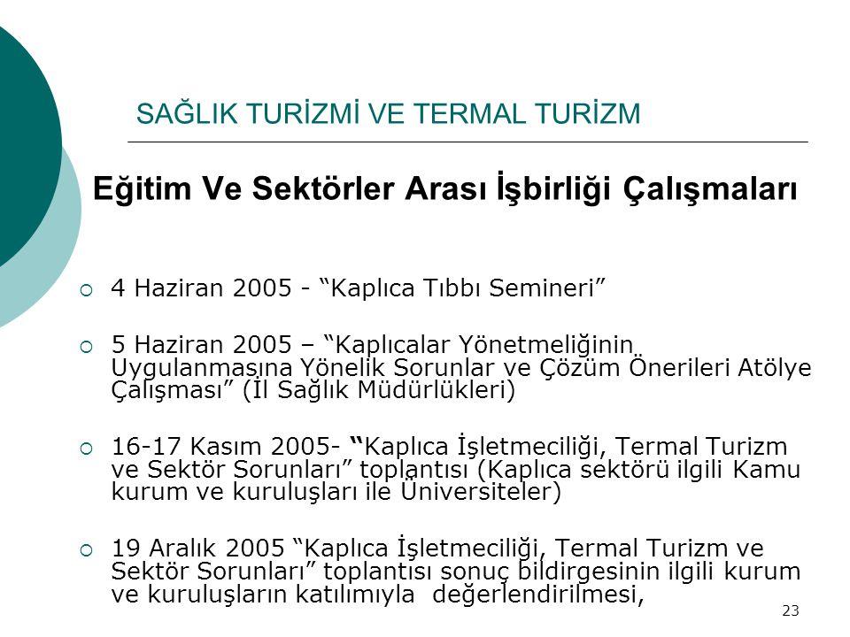 """23 Eğitim Ve Sektörler Arası İşbirliği Çalışmaları  4 Haziran 2005 - """"Kaplıca Tıbbı Semineri""""  5 Haziran 2005 – """"Kaplıcalar Yönetmeliğinin Uygulanma"""