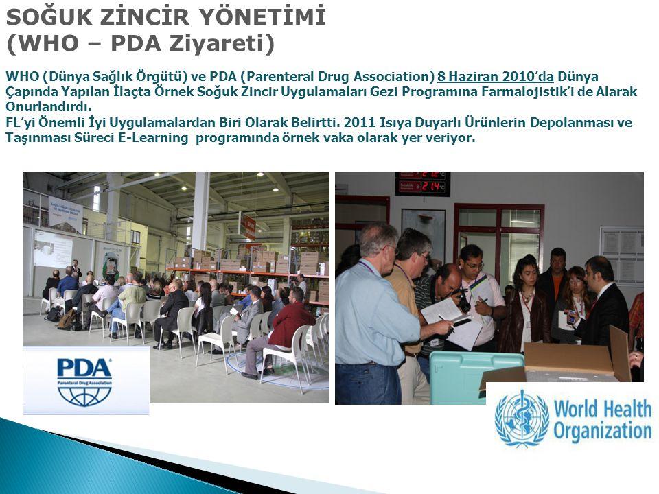 SOĞUK ZİNCİR YÖNETİMİ (WHO – PDA Ziyareti) WHO (Dünya Sağlık Örgütü) ve PDA (Parenteral Drug Association) 8 Haziran 2010'da Dünya Çapında Yapılan İlaç