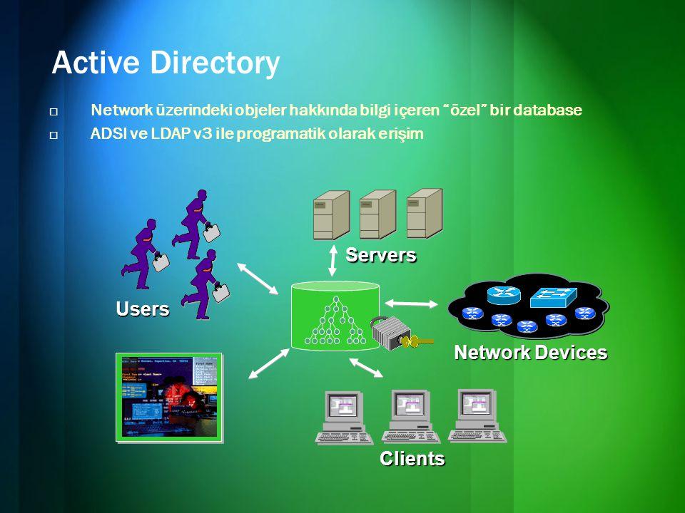 Active Directory  Network üzerindeki objeler hakkında bilgi içeren özel bir database  ADSI ve LDAP v3 ile programatik olarak erişim Users Clients Servers Network Devices