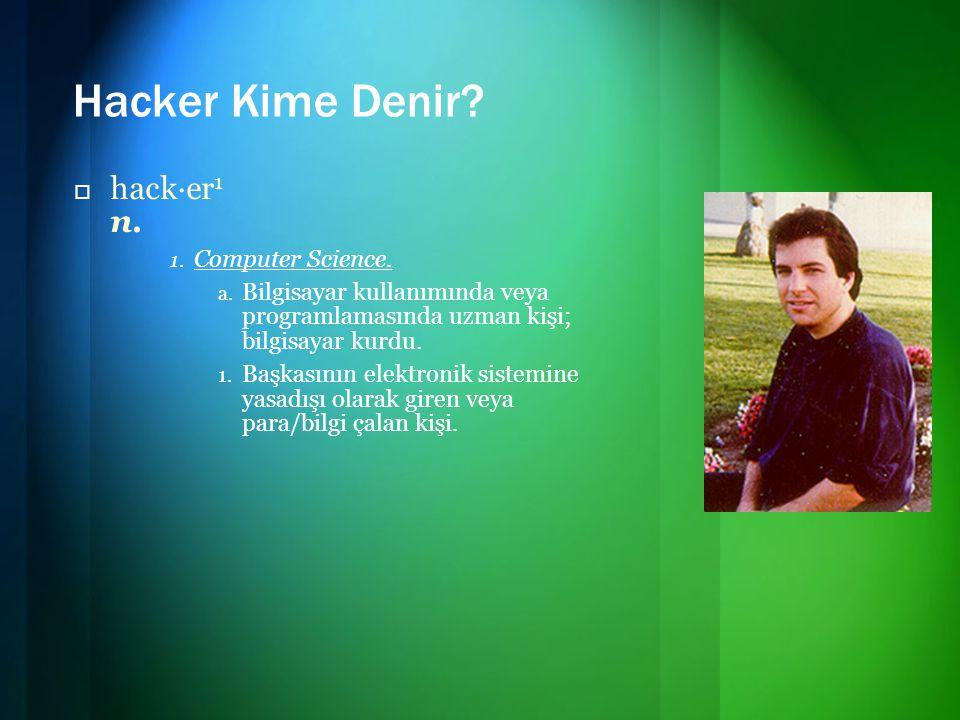 Hacker Kime Denir?  hack·er 1 n. 1. Computer Science. a. Bilgisayar kullanımında veya programlamasında uzman kişi; bilgisayar kurdu. 1. Başkasının el