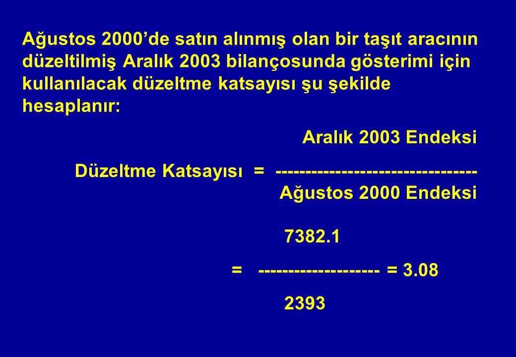 Ağustos 2000'de satın alınmış olan bir taşıt aracının düzeltilmiş Aralık 2003 bilançosunda gösterimi için kullanılacak düzeltme katsayısı şu şekilde h
