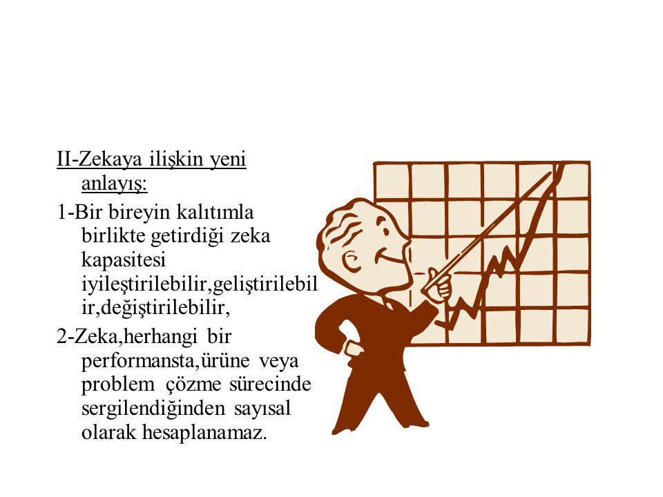 3-Zeka, tekildir, 4-Zeka, gerçek hayattan soyutlanarak (yani belli zeka testleriyle) ölçülür. 5-Zeka,öğrencileri beli seviyelere göre sınıflandırmak v