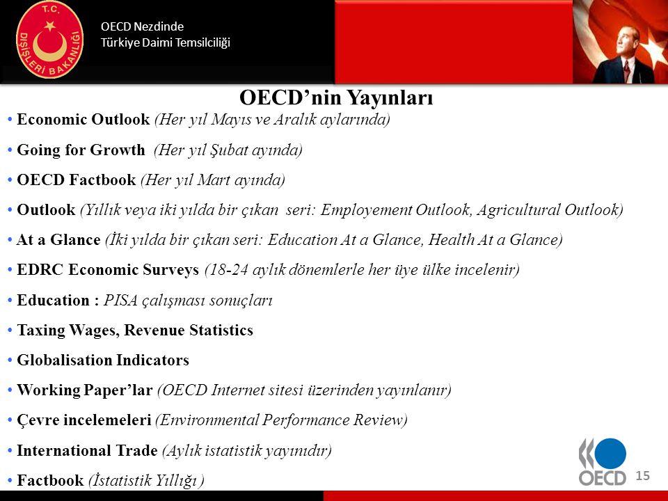 OECD'nin Yayınları OECD Nezdinde Türkiye Daimi Temsilciliği • Economic Outlook (Her yıl Mayıs ve Aralık aylarında) • Going for Growth (Her yıl Şubat a