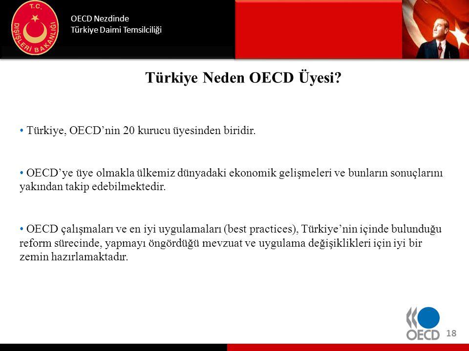 Türkiye Neden OECD Üyesi? OECD Nezdinde Türkiye Daimi Temsilciliği 18 • Türkiye, OECD'nin 20 kurucu üyesinden biridir. • OECD'ye üye olmakla ülkemiz d