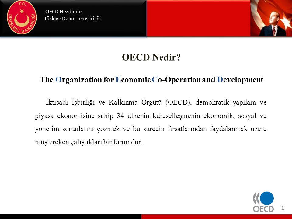 OECD'nin Amaçları OECD Nezdinde Türkiye Daimi Temsilciliği • Ekonomik büyüme, mali istikrar, ticaret ve yatırım, teknoloji, yenilik, girişimcilik ve kalkınma alanlarında işbirliği yoluyla refahın sağlanması ve yoksullukla mücadele konularında hükümetlere yardımcı olmak.