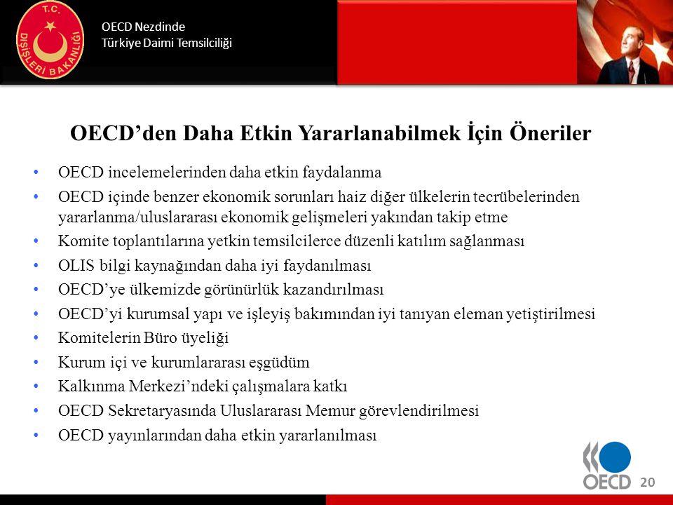 OECD'den Daha Etkin Yararlanabilmek İçin Öneriler • OECD incelemelerinden daha etkin faydalanma • OECD içinde benzer ekonomik sorunları haiz diğer ülk