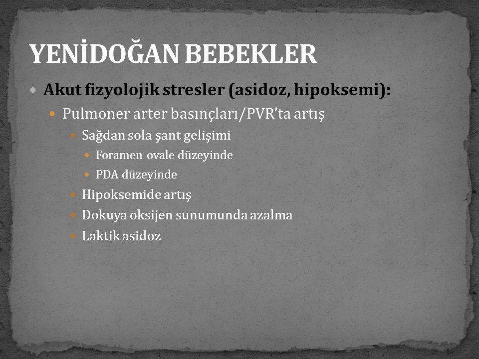  Akut fizyolojik stresler (asidoz, hipoksemi):  Pulmoner arter basınçları/PVR'ta artış  Sağdan sola şant gelişimi  Foramen ovale düzeyinde  PDA d