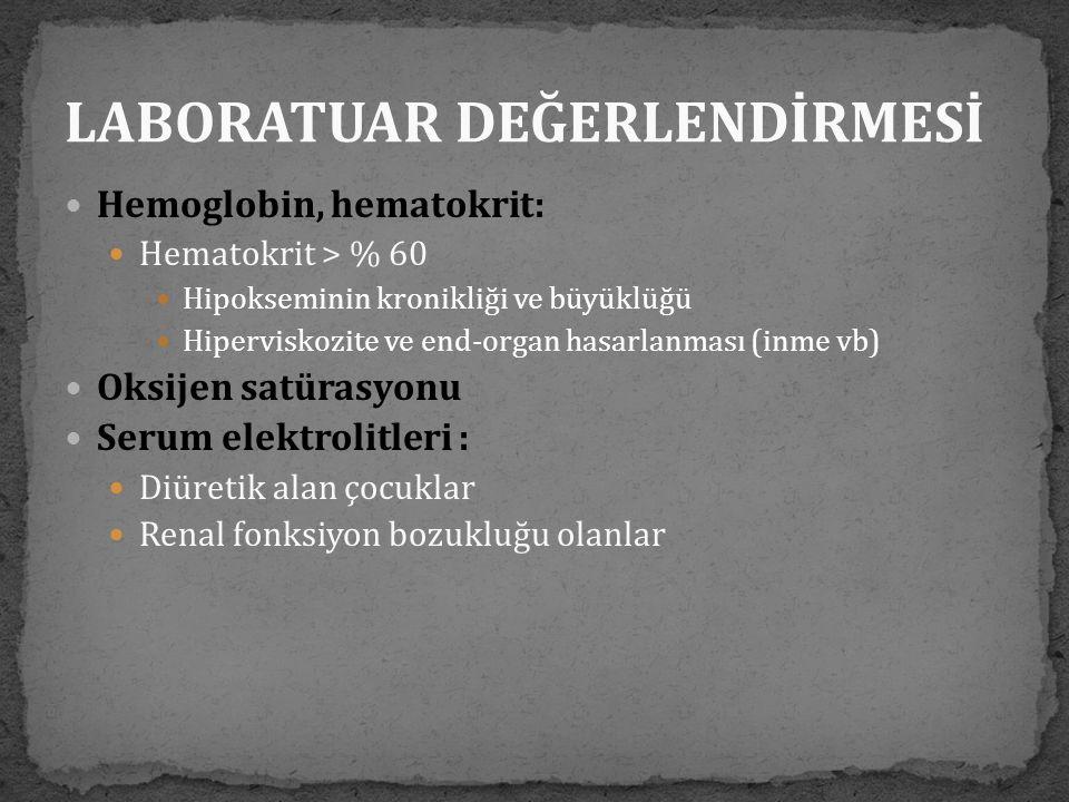  Hemoglobin, hematokrit:  Hematokrit > % 60  Hipokseminin kronikliği ve büyüklüğü  Hiperviskozite ve end-organ hasarlanması (inme vb)  Oksijen sa