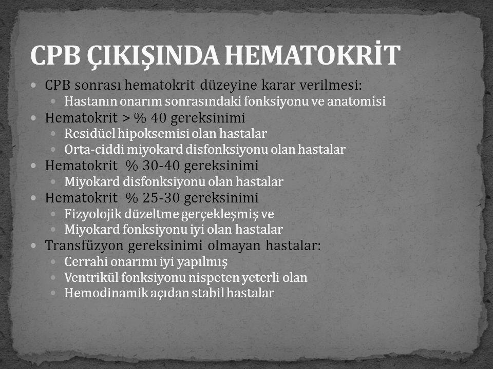  CPB sonrası hematokrit düzeyine karar verilmesi:  Hastanın onarım sonrasındaki fonksiyonu ve anatomisi  Hematokrit > % 40 gereksinimi  Residüel h