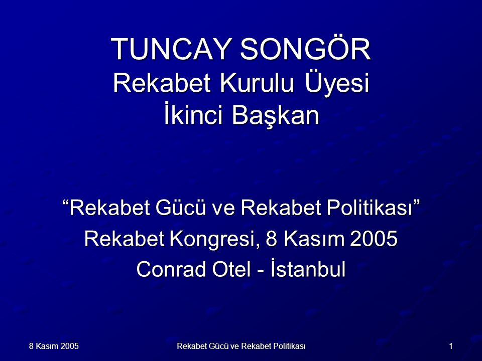 18 Kasım 2005Rekabet Gücü ve Rekabet Politikası TUNCAY SONGÖR Rekabet Kurulu Üyesi İkinci Başkan Rekabet Gücü ve Rekabet Politikası Rekabet Kongresi, 8 Kasım 2005 Conrad Otel - İstanbul