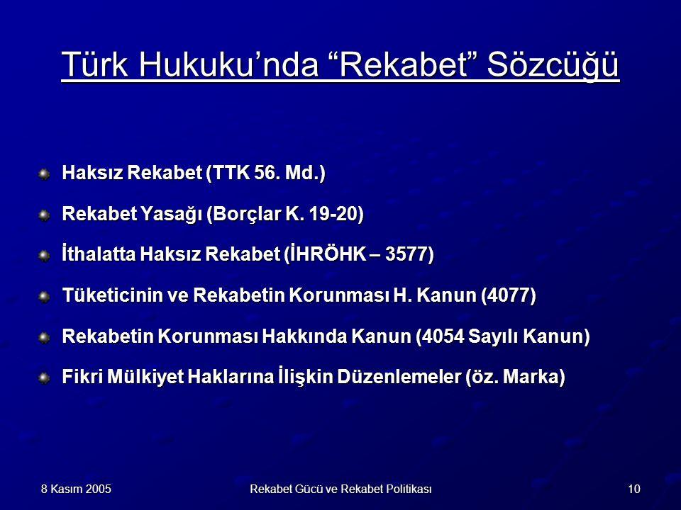 108 Kasım 2005Rekabet Gücü ve Rekabet Politikası Türk Hukuku'nda Rekabet Sözcüğü Haksız Rekabet (TTK 56.