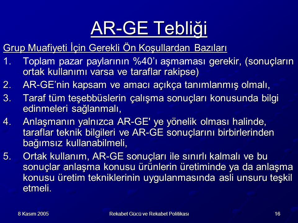 168 Kasım 2005Rekabet Gücü ve Rekabet Politikası AR-GE Tebliği Grup Muafiyeti İçin Gerekli Ön Koşullardan Bazıları 1.