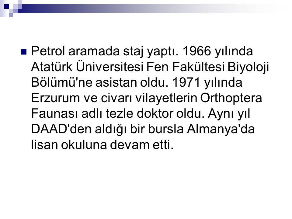  Ayrıca 1965-69 da Türkiye Atom Enerjisi Komisyonu üyesi, 1970-76 da CENTO Bilimsel Koordinasyon Heyeti Türk Delegesi ve 1972-75 te Akdeniz Uygulamalı Bitki Fizyologları Örgütü Başkanı olarak görev almıştır.Türkiye Atom Enerjisi Komisyonu