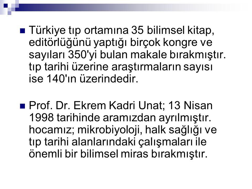  Türkiye tıp ortamına 35 bilimsel kitap, editörlüğünü yaptığı birçok kongre ve sayıları 350 yi bulan makale bırakmıştır.