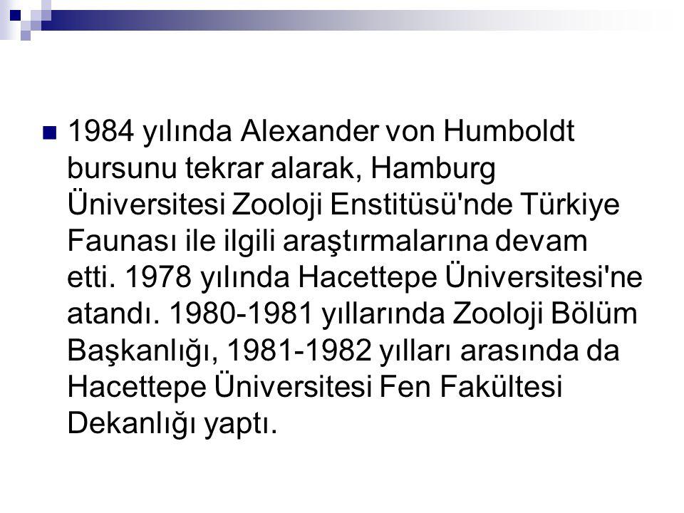  1984 yılında Alexander von Humboldt bursunu tekrar alarak, Hamburg Üniversitesi Zooloji Enstitüsü nde Türkiye Faunası ile ilgili araştırmalarına devam etti.