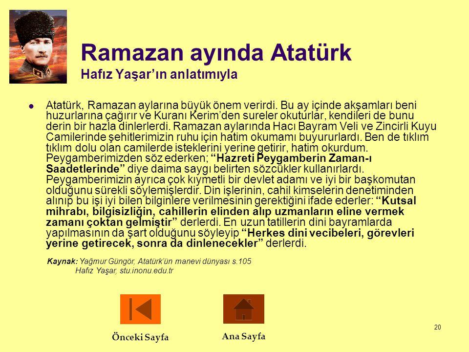 20 Ramazan ayında Atatürk Hafız Yaşar'ın anlatımıyla  Atatürk, Ramazan aylarına büyük önem verirdi. Bu ay içinde akşamları beni huzurlarına çağırır v