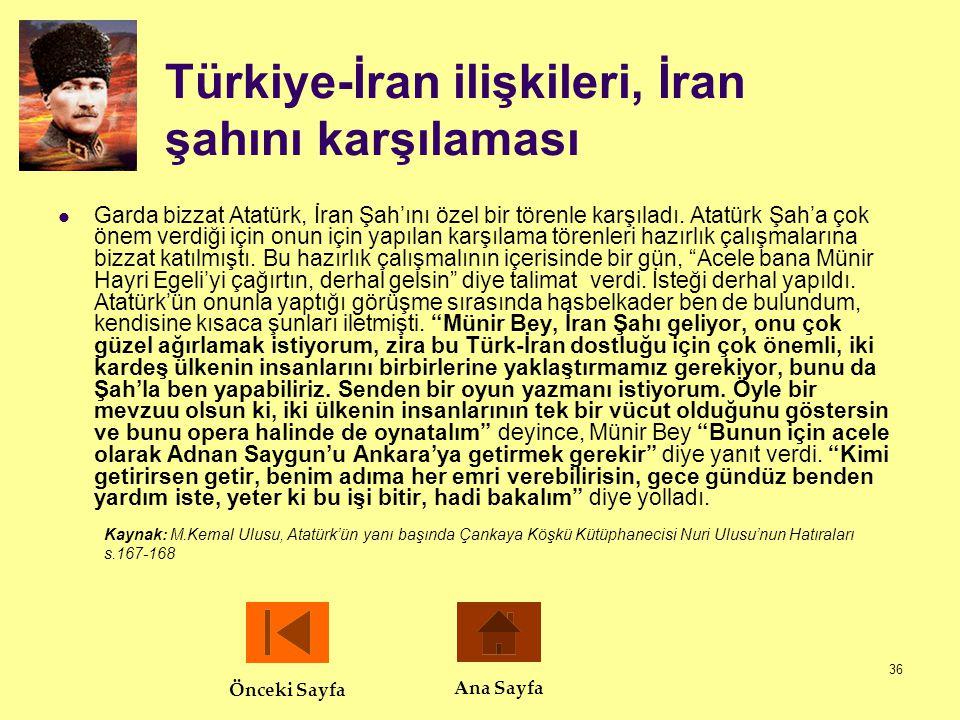36 Türkiye-İran ilişkileri, İran şahını karşılaması  Garda bizzat Atatürk, İran Şah'ını özel bir törenle karşıladı. Atatürk Şah'a çok önem verdiği iç
