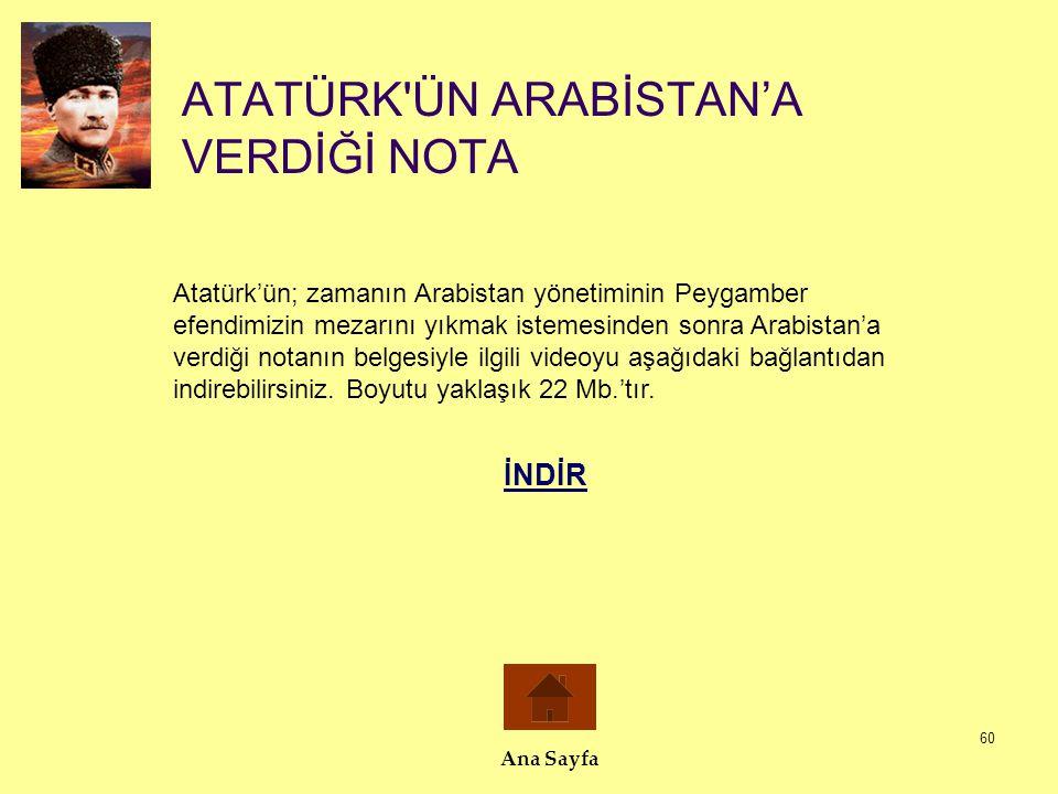 60 ATATÜRK'ÜN ARABİSTAN'A VERDİĞİ NOTA Ana Sayfa Atatürk'ün; zamanın Arabistan yönetiminin Peygamber efendimizin mezarını yıkmak istemesinden sonra Ar