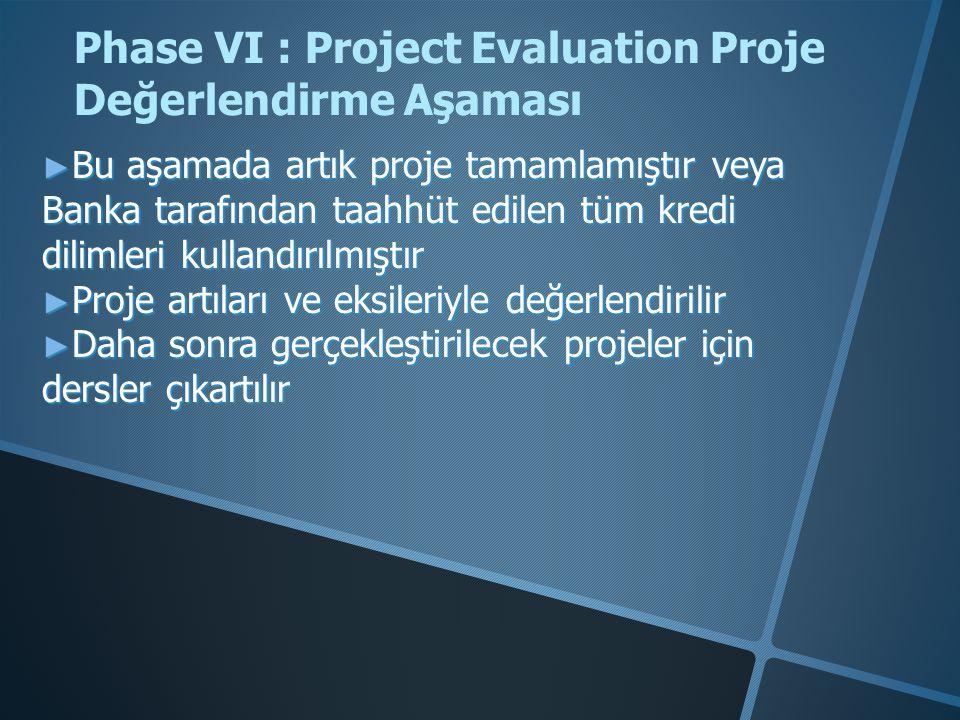 ► Bu aşamada artık proje tamamlamıştır veya Banka tarafından taahhüt edilen tüm kredi dilimleri kullandırılmıştır ► Proje artıları ve eksileriyle değerlendirilir ► Daha sonra gerçekleştirilecek projeler için dersler çıkartılır