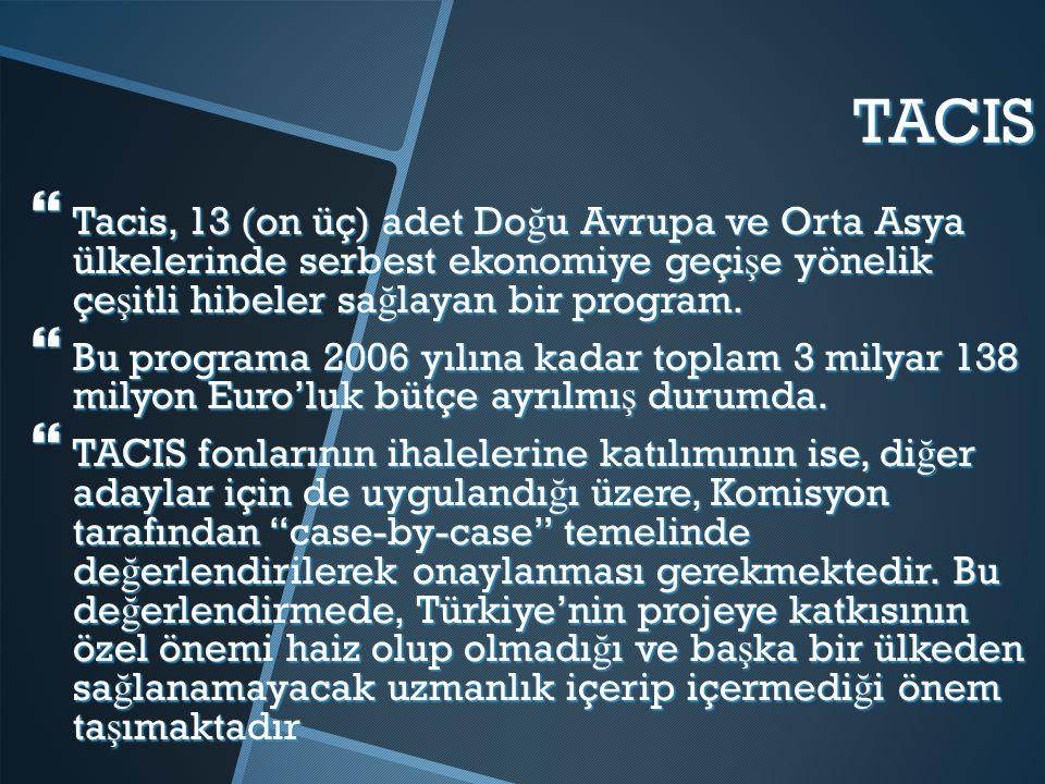 TACIS  Tacis, 13 (on üç) adet Do ğ u Avrupa ve Orta Asya ülkelerinde serbest ekonomiye geçi ş e yönelik çe ş itli hibeler sa ğ layan bir program.