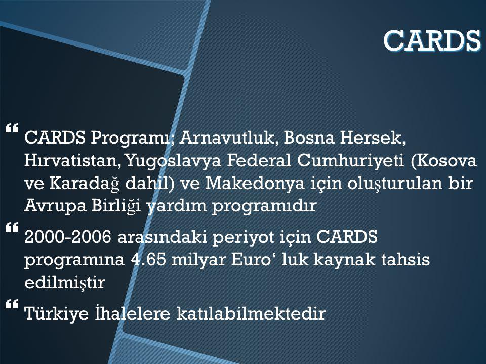CARDS   CARDS Programı; Arnavutluk, Bosna Hersek, Hırvatistan, Yugoslavya Federal Cumhuriyeti (Kosova ve Karada ğ dahil) ve Makedonya için olu ş turulan bir Avrupa Birli ğ i yardım programıdır   2000-2006 arasındaki periyot için CARDS programına 4.65 milyar Euro' luk kaynak tahsis edilmi ş tir   Türkiye İ halelere katılabilmektedir