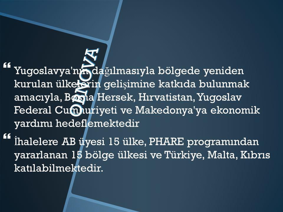 OBNOVA   Yugoslavya nın da ğ ılmasıyla bölgede yeniden kurulan ülkelerin geli ş imine katkıda bulunmak amacıyla, Bosna Hersek, Hırvatistan, Yugoslav Federal Cumhuriyeti ve Makedonya ya ekonomik yardımı hedeflemektedir   İ halelere AB üyesi 15 ülke, PHARE programından yararlanan 15 bölge ülkesi ve Türkiye, Malta, Kıbrıs katılabilmektedir.