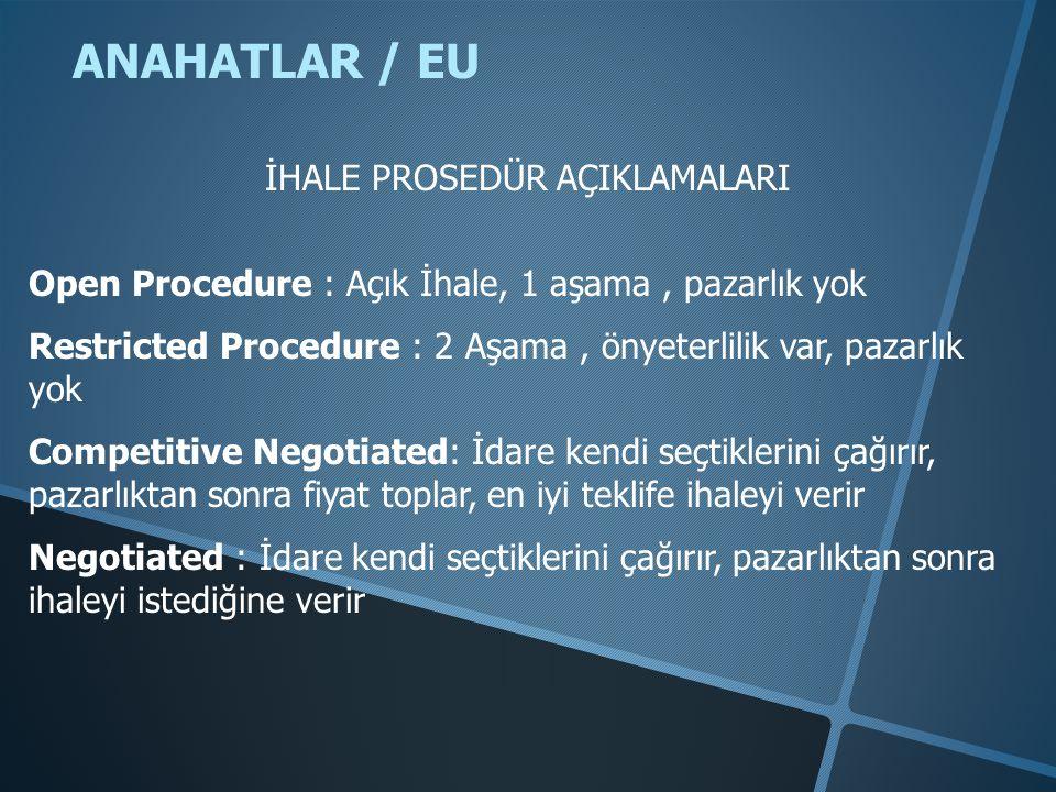 ANAHATLAR / EU Open Procedure : Açık İhale, 1 aşama, pazarlık yok Restricted Procedure : 2 Aşama, önyeterlilik var, pazarlık yok Competitive Negotiate