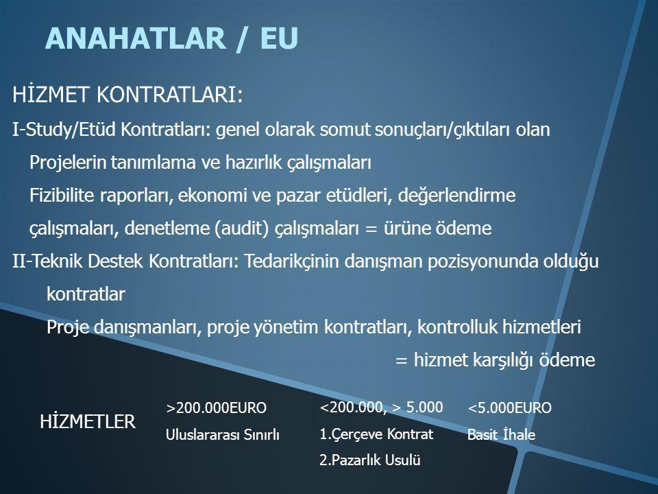 ANAHATLAR / EU HİZMET KONTRATLARI: I-Study/Etüd Kontratları: genel olarak somut sonuçları/çıktıları olan Projelerin tanımlama ve hazırlık çalışmaları Fizibilite raporları, ekonomi ve pazar etüdleri, değerlendirme çalışmaları, denetleme (audit) çalışmaları = ürüne ödeme II-Teknik Destek Kontratları: Tedarikçinin danışman pozisyonunda olduğu kontratlar Proje danışmanları, proje yönetim kontratları, kontrolluk hizmetleri = hizmet karşılığı ödeme HİZMETLER >200.000EURO Uluslararası Sınırlı 5.000 1.Çerçeve Kontrat 2.Pazarlık Usulü <5.000EURO Basit İhale