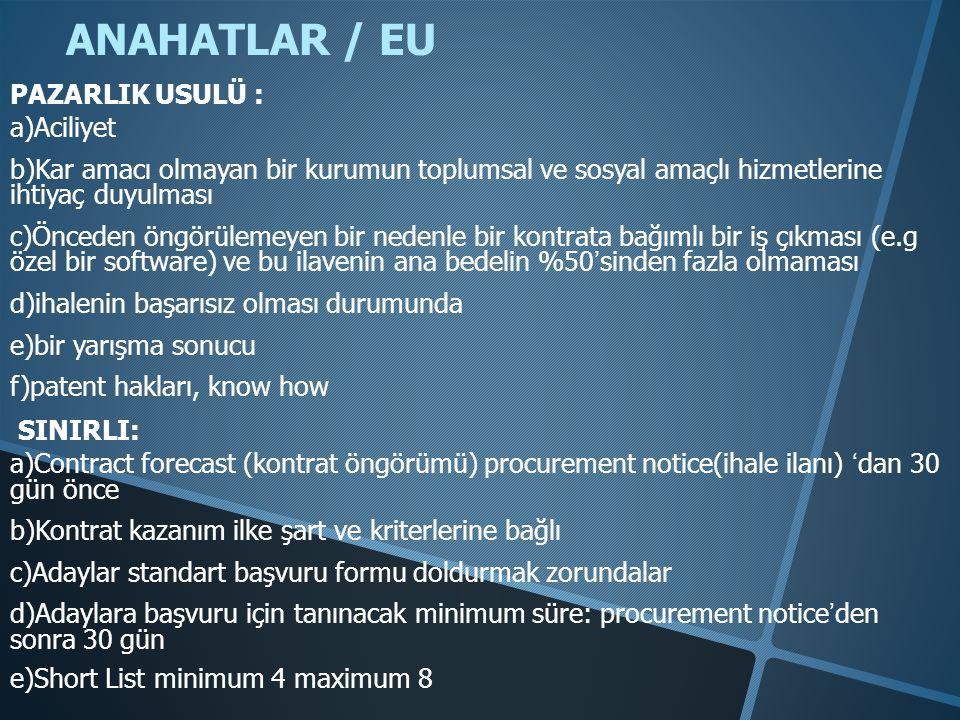 ANAHATLAR / EU PAZARLIK USULÜ : a)Aciliyet b)Kar amacı olmayan bir kurumun toplumsal ve sosyal amaçlı hizmetlerine ihtiyaç duyulması c)Önceden öngörül