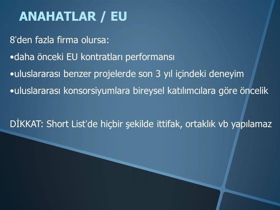 ANAHATLAR / EU 8'den fazla firma olursa: •daha önceki EU kontratları performansı •uluslararası benzer projelerde son 3 yıl içindeki deneyim •uluslararası konsorsiyumlara bireysel katılımcılara göre öncelik DİKKAT: Short List'de hiçbir şekilde ittifak, ortaklık vb yapılamaz