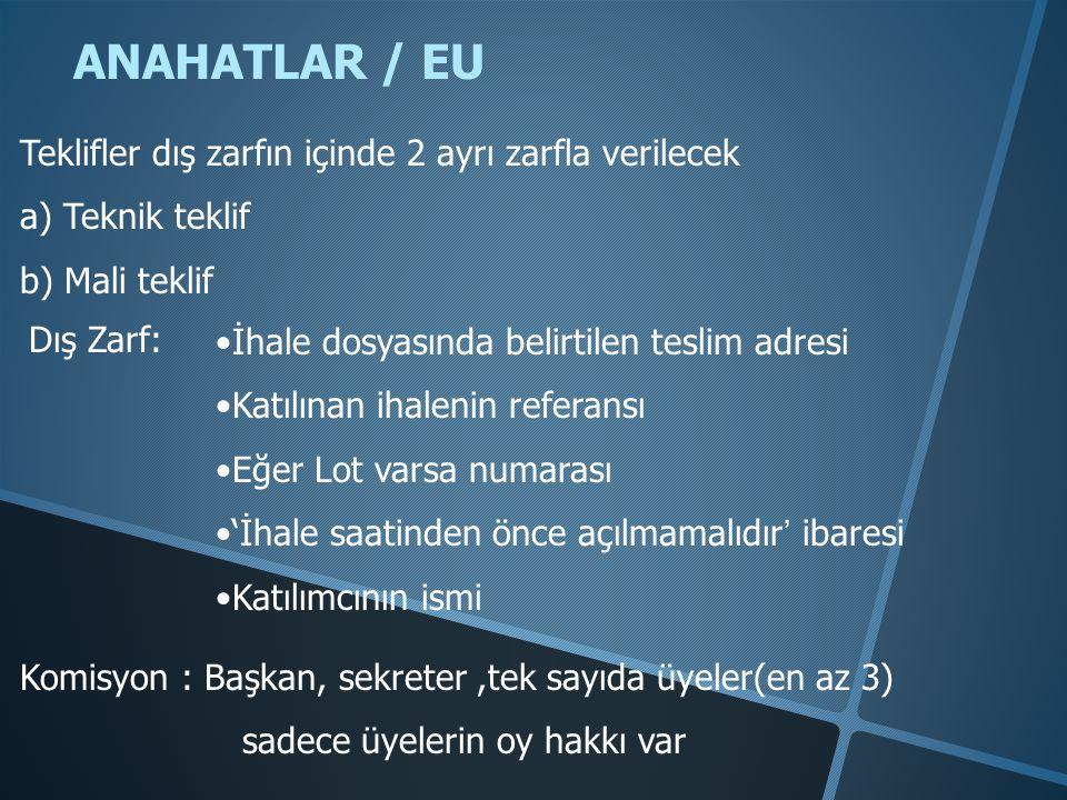 ANAHATLAR / EU Teklifler dış zarfın içinde 2 ayrı zarfla verilecek a) Teknik teklif b) Mali teklif Dış Zarf: •İhale dosyasında belirtilen teslim adres