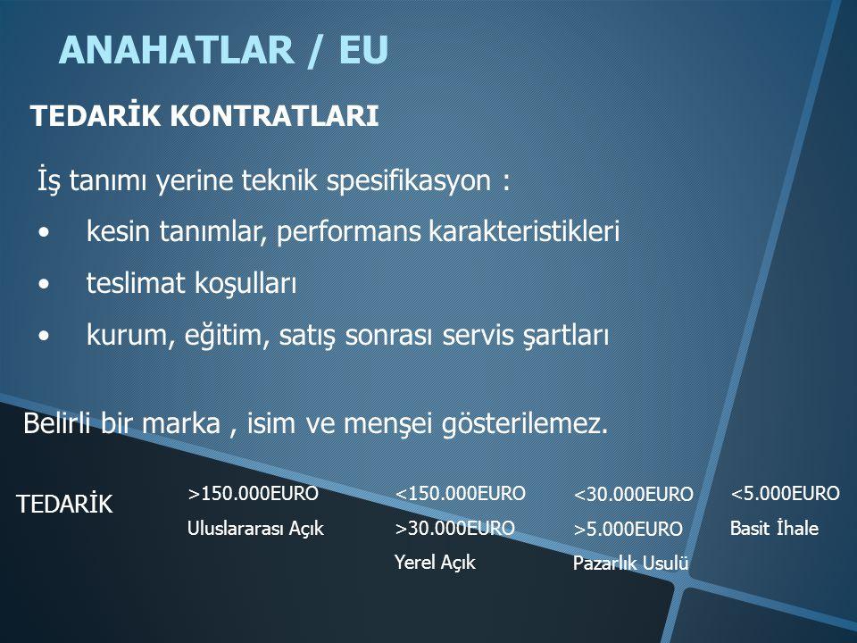 ANAHATLAR / EU TEDARİK KONTRATLARI İş tanımı yerine teknik spesifikasyon : • kesin tanımlar, performans karakteristikleri • teslimat koşulları • kurum