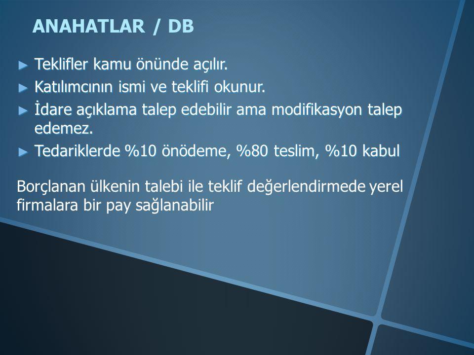 ANAHATLAR / DB ► Teklifler kamu önünde açılır.► Katılımcının ismi ve teklifi okunur.