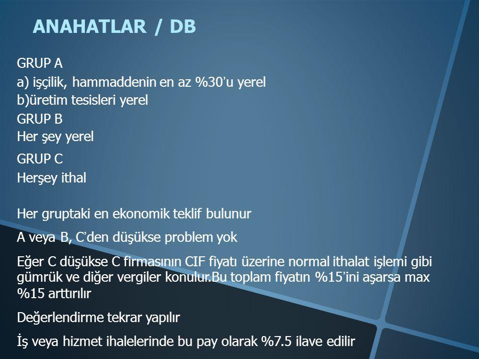 ANAHATLAR / DB GRUP A a) işçilik, hammaddenin en az %30'u yerel b)üretim tesisleri yerel GRUP B Her şey yerel GRUP C Herşey ithal Her gruptaki en ekon