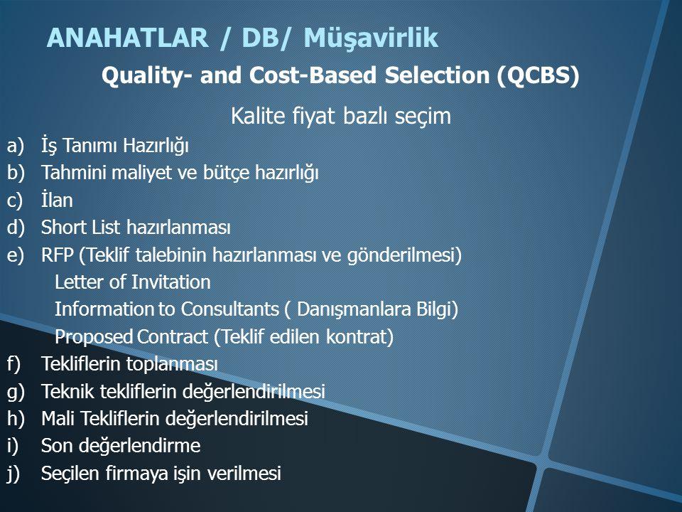 ANAHATLAR / DB/ Müşavirlik Quality- and Cost-Based Selection (QCBS) Kalite fiyat bazlı seçim a)İş Tanımı Hazırlığı b)Tahmini maliyet ve bütçe hazırlığ