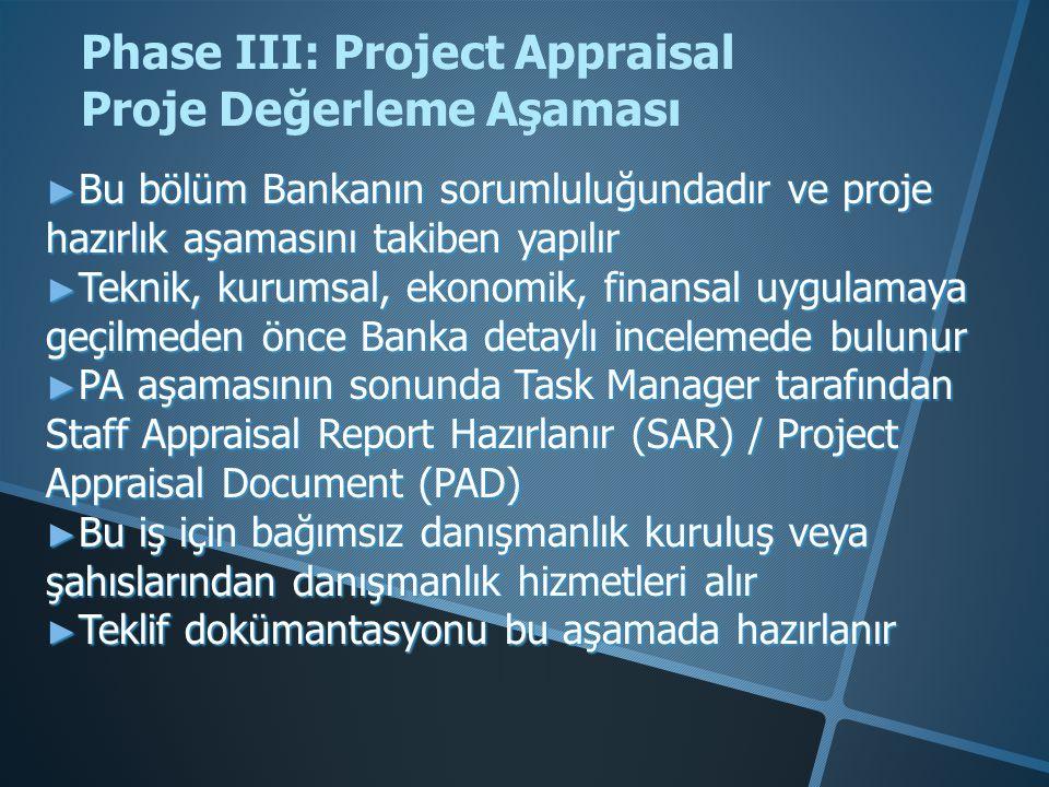 ► Bu bölüm Bankanın sorumluluğundadır ve proje hazırlık aşamasını takiben yapılır ► Teknik, kurumsal, ekonomik, finansal uygulamaya geçilmeden önce Banka detaylı incelemede bulunur ► PA aşamasının sonunda Task Manager tarafından Staff Appraisal Report Hazırlanır (SAR) / Project Appraisal Document (PAD) ► Bu iş için bağımsız danışmanlık kuruluş veya şahıslarından danışmanlık hizmetleri alır ► Teklif dokümantasyonu bu aşamada hazırlanır