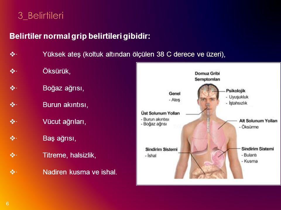 6 Belirtiler normal grip belirtileri gibidir:  · Yüksek ateş (koltuk altından ölçülen 38 C derece ve üzeri),  · Öksürük,  · Boğaz ağrısı,  · Burun