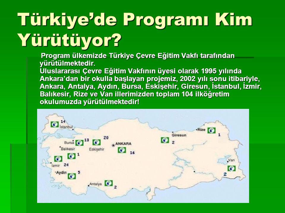 Türkiye'de Programı Kim Yürütüyor? Program ülkemizde Türkiye Çevre Eğitim Vakfı tarafından yürütülmektedir. Uluslararası Çevre Eğitim Vakfının üyesi o