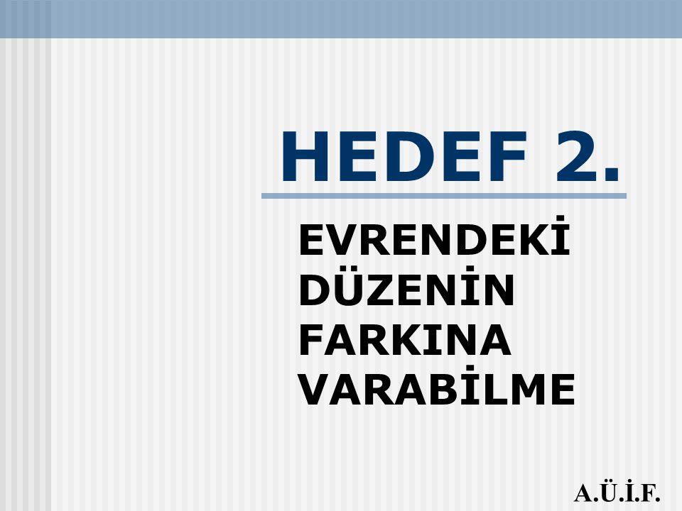 HEDEF 2. EVRENDEKİ DÜZENİN FARKINA VARABİLME A.Ü.İ.F.
