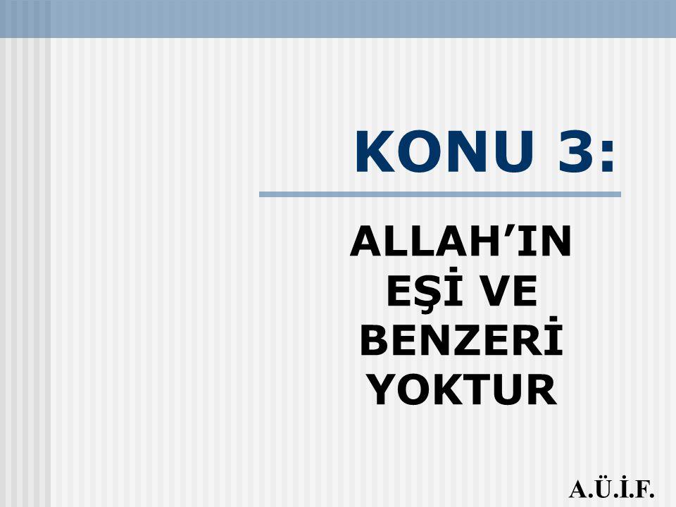 KONU 3: ALLAH'IN EŞİ VE BENZERİ YOKTUR A.Ü.İ.F.