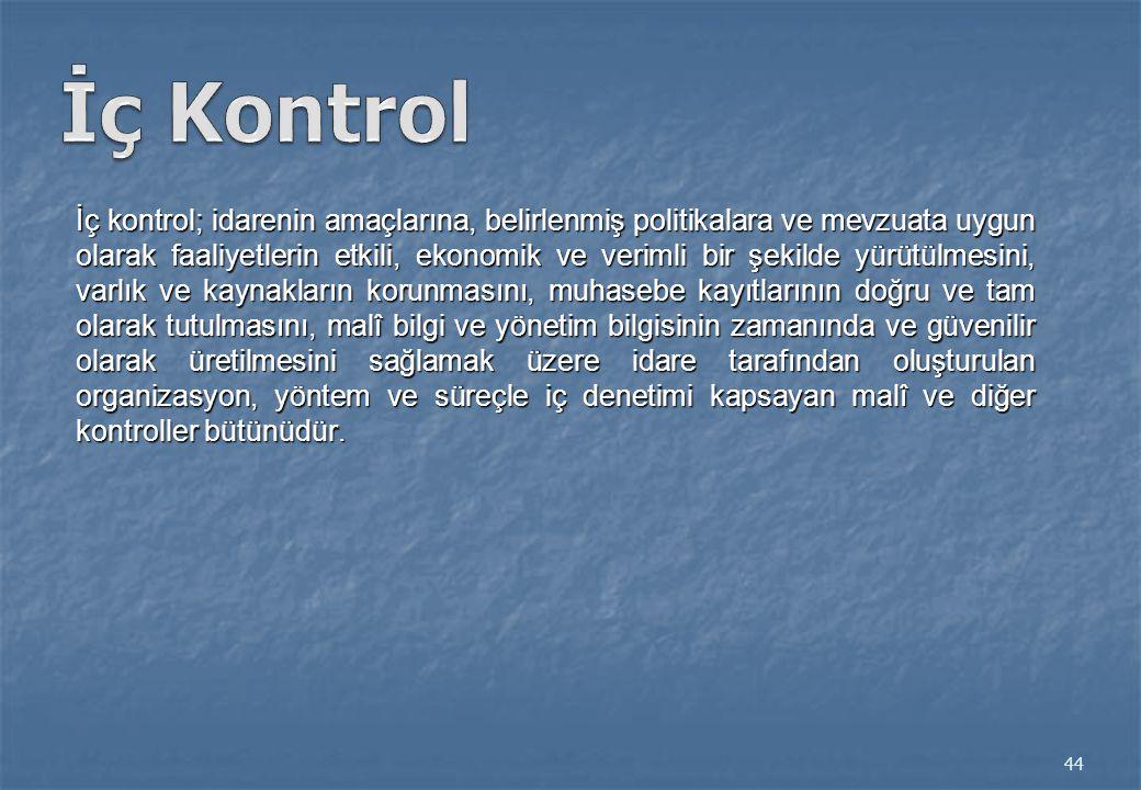 İç kontrol; idarenin amaçlarına, belirlenmiş politikalara ve mevzuata uygun olarak faaliyetlerin etkili, ekonomik ve verimli bir şekilde yürütülmesini