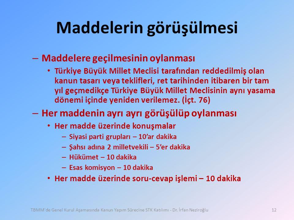 Maddelerin görüşülmesi – Maddelere geçilmesinin oylanması • Türkiye Büyük Millet Meclisi tarafından reddedilmiş olan kanun tasarı veya teklifleri, ret