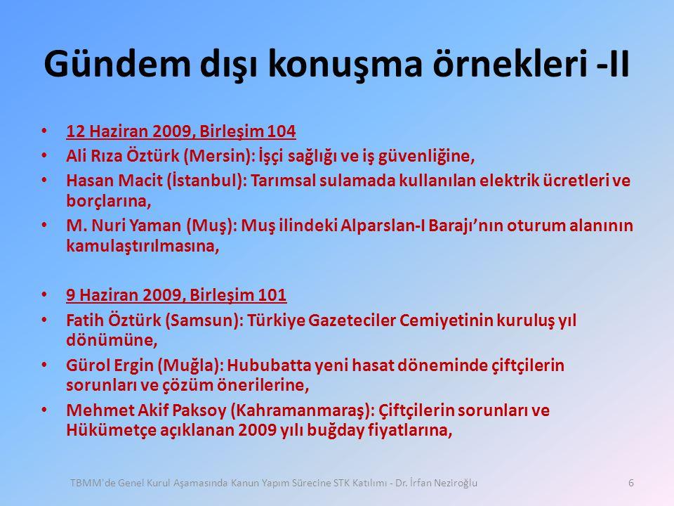 Gündem dışı konuşma örnekleri -II • 12 Haziran 2009, Birleşim 104 • Ali Rıza Öztürk (Mersin): İşçi sağlığı ve iş güvenliğine, • Hasan Macit (İstanbul)