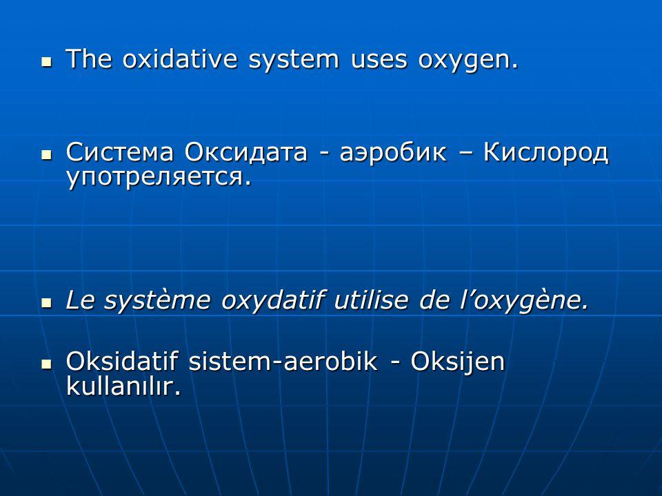  The oxidative system uses oxygen.  Система Оксидата - аэробик – Кислород употреляется.  Le système oxydatif utilise de l'oxygène.  Oksidatif sist