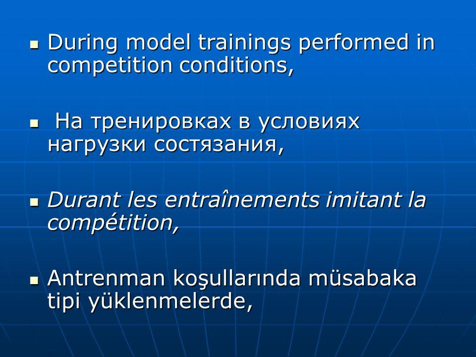  During model trainings performed in competition conditions,  На тренировках в условиях нагрузки состязания,  Durant les entraînements imitant la c